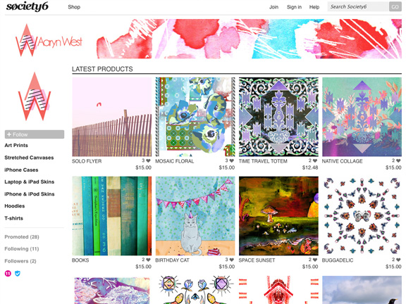 Aaryn West Society6 Shop