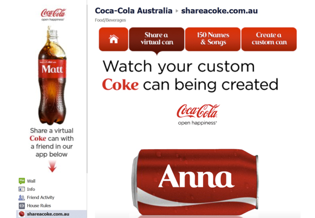 Coke AU campaign personalized cans